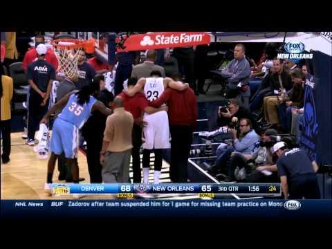 Anthony Davis injured during game against Denver (1-28-15)