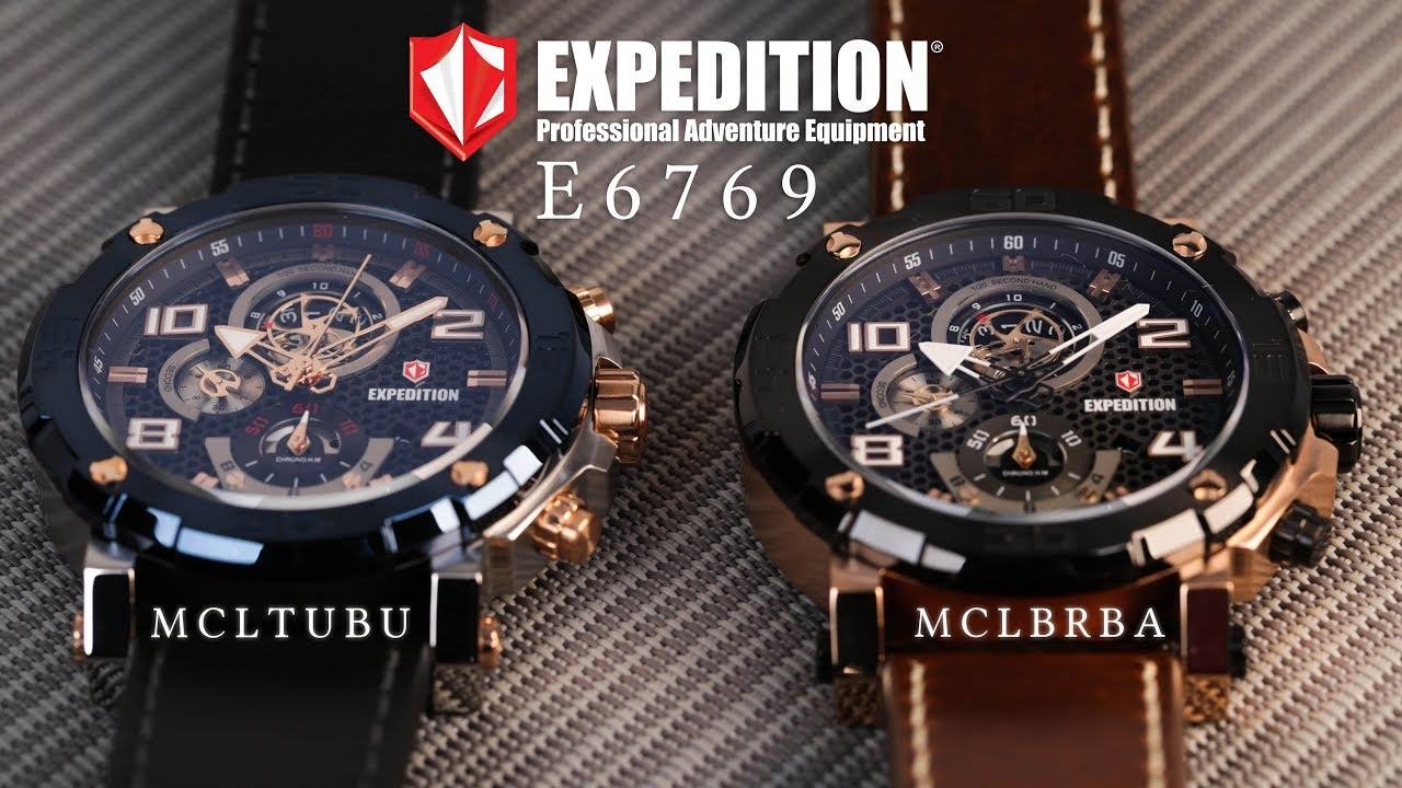 Jam Tangan Expedition E 6769 Chronograph Man Black Dial Leather Strap Youtube