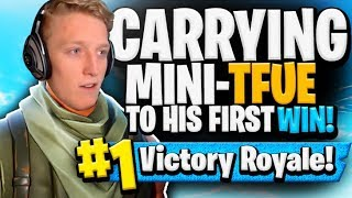 Carrying RANDOM KID/Mini Tfue to his first EVER win! Only 3 games EVER played!