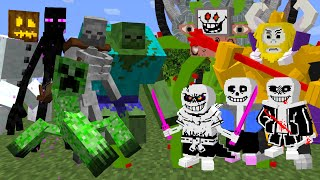 Mutant Creatures Vs Undertale Sans Bosses | Minecraft Mob Arena