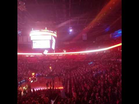 Player introductions before an Oklahoma City Thunder game at Chesapeake Energy Arena