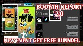 FREE FIRE NEW EVENT FREE  BUNDLES , FREE HELMET , NEW TOPUP  REWARDS , BOOYAH REPORTS 2.0