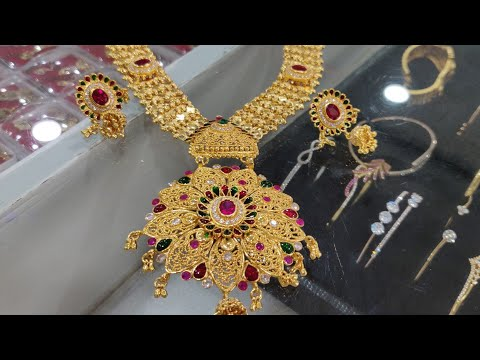 letest-gold-long-har-with-earrings,the-jewellery-place,-contact-us-📲-7359294137,-bridal-necklace