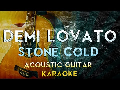 Demi Lovato - Stone Cold | Acoustic Guitar Karaoke Instrumental Lyrics Cover Sing Along