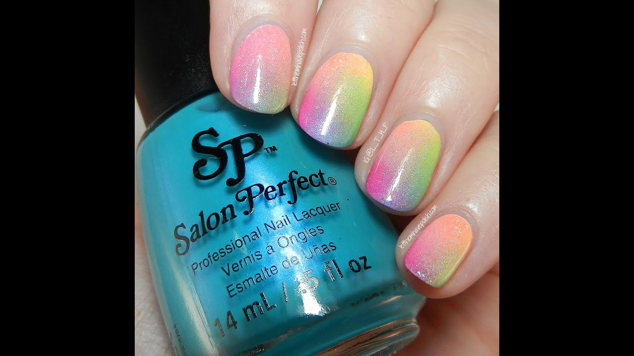 neon pop rainbow ombre nail art