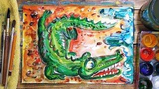 Как нарисовать Крокодила. Урок рисования для детей от 4 лет, РыбаКит