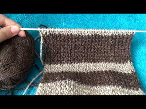 Как связать полосатый шарф спицами