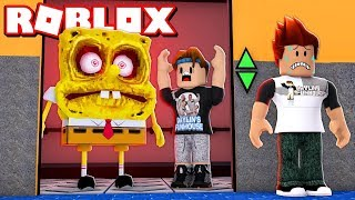 EVIL SPONGEBOB Is On Our Elevator?! ROBLOX Scary Elevator!
