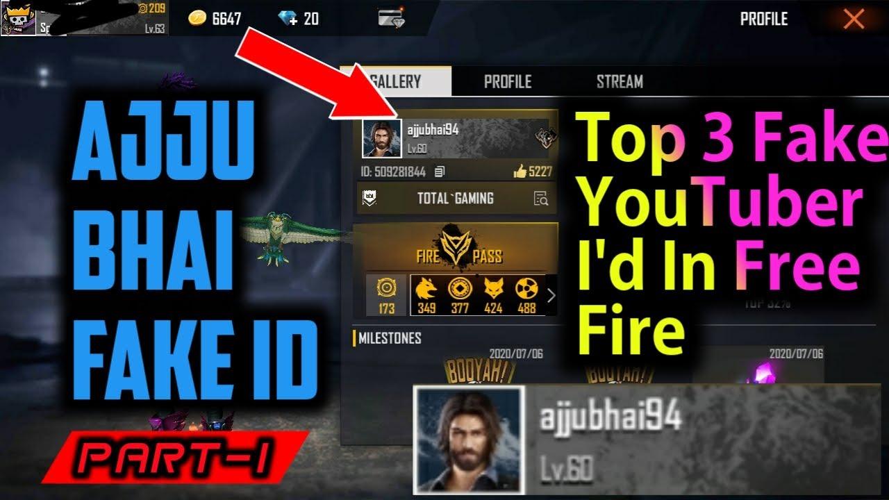 Top 3 Fake YouTuber Free Fire Id || AjjuBhai94,Abjonty,AmitBhai Fake Free Fire Id | part1| Safe Army