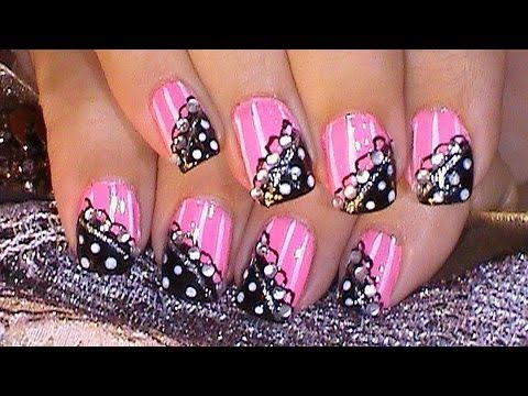 Pink Black Nail Art Design Tutorial Youtube