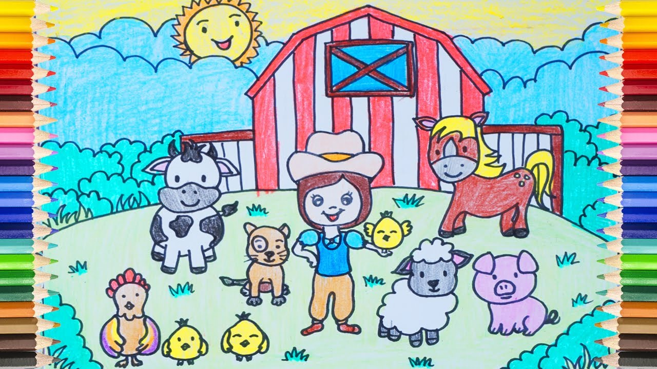 [Best] DRAWING a HAPPY FARM - How to Draw a Farm with Many Objects