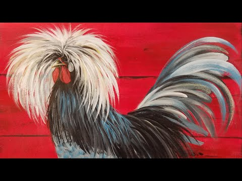 ROOSTER Acrylic Painting Tutorial for Beginners LIVE Step by Step 3 Color Challenge
