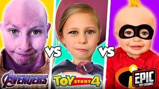 INCREDIBLES 2 Jack Jack Pretend Play vs Avengers Thanos Gauntlet &  Toy Story - Fun Kids Parody