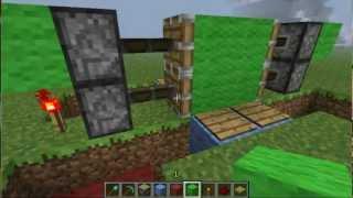 Como hacer una puerta con pistones y placas de presión Minecraft HD/HQ
