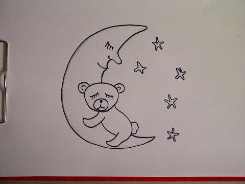 Bär auf dem Mond. Zeichnen lernen für Kinder und Anfänger. How to draw Teddy bear on the moon