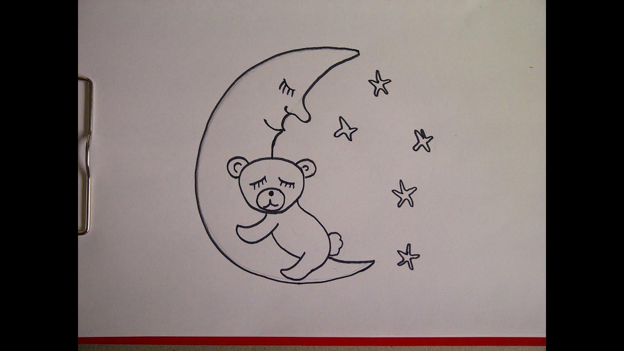 b r auf dem mond zeichnen lernen f r kinder und anf nger how to draw teddy bear on the moon. Black Bedroom Furniture Sets. Home Design Ideas