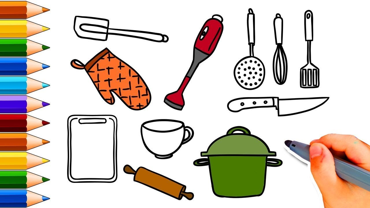 Coloring Pages Kitchen Utensils - Kitchen Tools - Active Kids TV