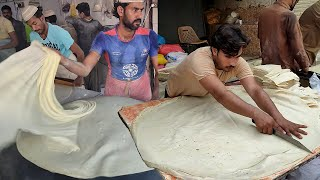 Pakistan's Biggest Rumali Roti | Roll and Samosa Patti - Manda Roti Making | Street Food of Karachi
