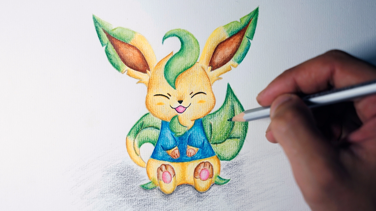 Hair Style Eevee: How To Draw Leafeon (Cute Version)