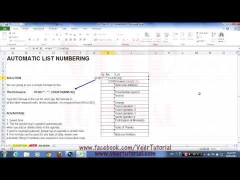 Learn Excel 2010 (Automatic List Numbering with Empty Rows)
