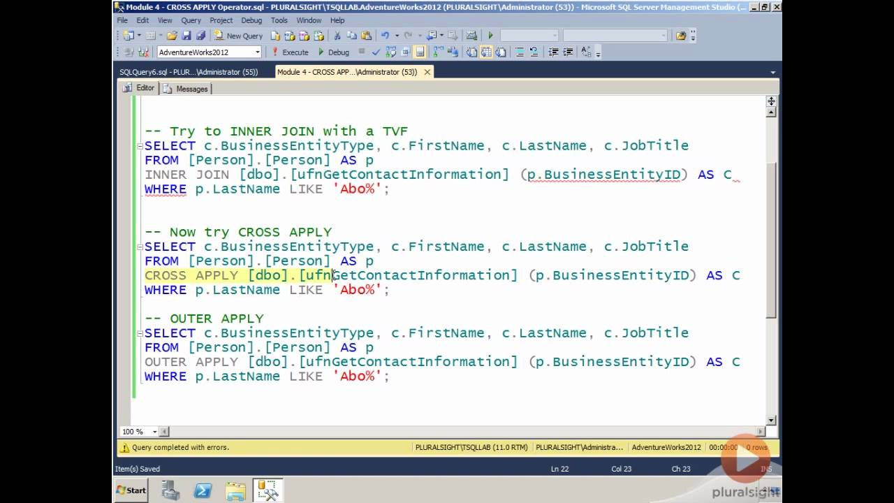 Cross Apply & Outer Apply in SQL Server