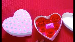 How to make a heart shaped gift box with paper roses - Valentine's Day Craft