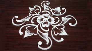 Very Very Simple Beginners rangoli designs with 7x5x3x1 dots step by step Kolam