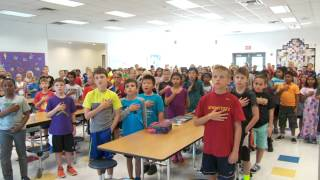 Lakewood elementary school students participated in the american public education foundation's annual singing of national anthem at noon.