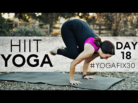 hiit yoga with crow pose bakasana day 18 with