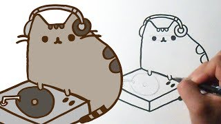 How to draw Cute Pusheen the cat DJ
