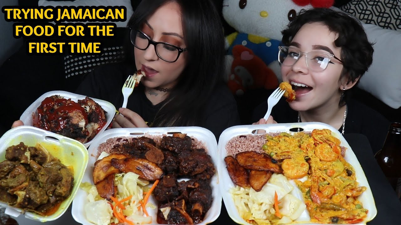 TRYING JAMAICAN FOOD FOR THE FIRST TIME MUKBANG   OXTAIL, PLANTAIN, GOAT AND SHRIMP CURRY