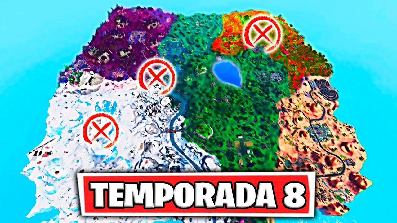 Mapa Temporada 8 Fortnite.Pase De Batalla 8 Todas Las Nuevas Zonas Del Nuevo Mapa De Fortnite Temporada 8