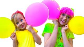 Дуем наши Шарики детская песенка - Алекс и Настя играют с шариками