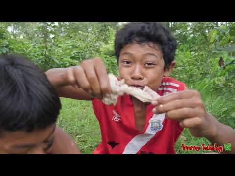 Primitive Technology - Eating Delicious In Jungle - Cooking Pig Intestines On The Rock #167