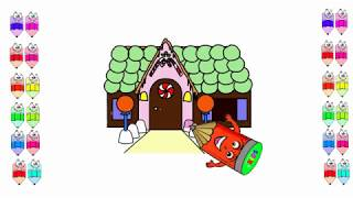 How To Draw and painting Candy House