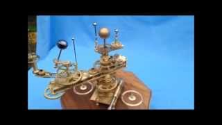 Brass Orrery of the Inner Solar System with Orbiting Moons