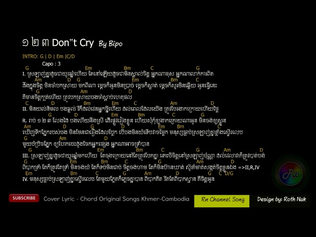 123 Dont Cry - ????? By Pipo - Chord & Lyric Original Song