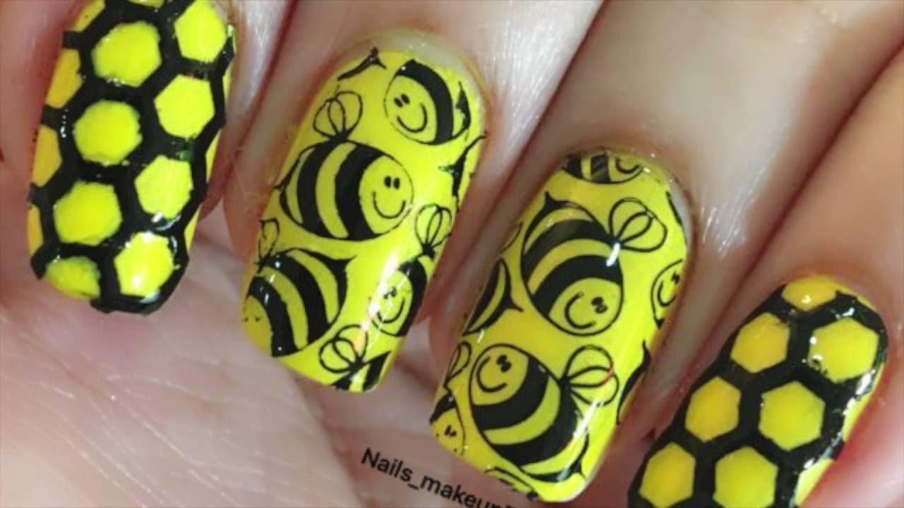 How To Do Honey Bee Nail Art Easy Nail Art Tutorial Youtube