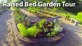 Raised Bed Garden Tour - Concrete Blocks And Railroad Tie Beds