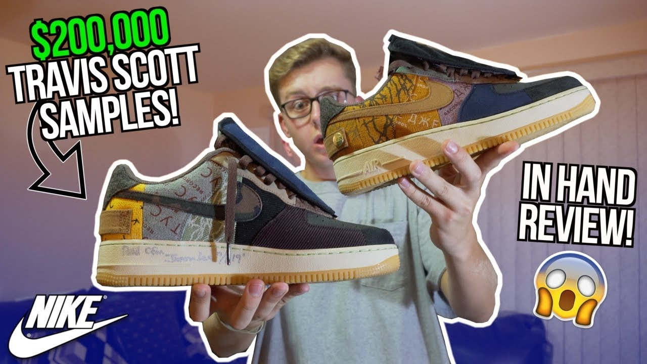 CRAZY FIRST LOOK $200,000 TRAVIS SCOTT x NIKE AIR FORCE 1 PROMO SAMPLE | ON FEET REVIEW | THE STORY