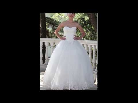 Princess Wedding Dress Lacy Look Floor-length Strapless Organza/Gowns by LightInTheBox