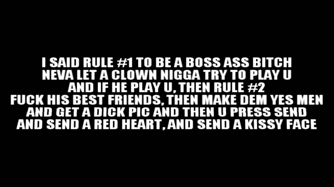 Boss Bitch Quotes Nicki Minaj  Boss Ass Bitch Remix Lyrics On The Screen  Youtube