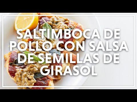 Saltimboca de pollo con salsa de semillas de girasol