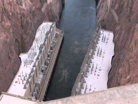 Hoover Dam Views of Power Plant Electricity Cables Colorado River Water with Zoom up to Top of Dam