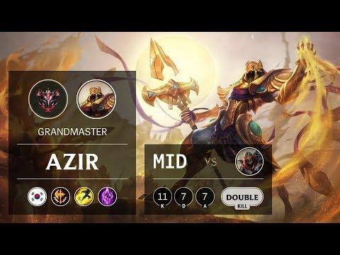 Azir Mid vs Zed - KR Grandmaster Patch 10.2