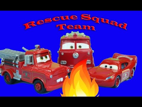 Disney Pixar Cars Lightning McQueen & Mater as Rescue Squad Team save Radiator Springs on fire
