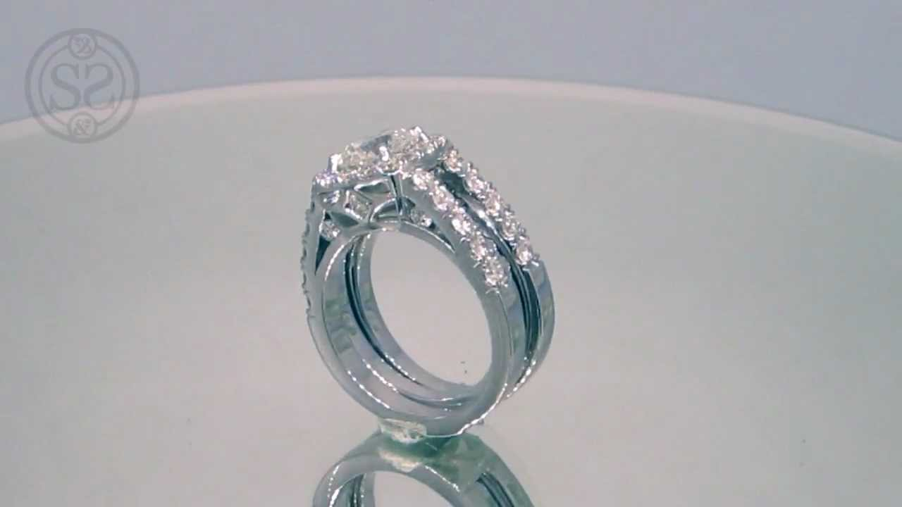 Doube Shank Halo Engagement Ring With Removable Wedding Band