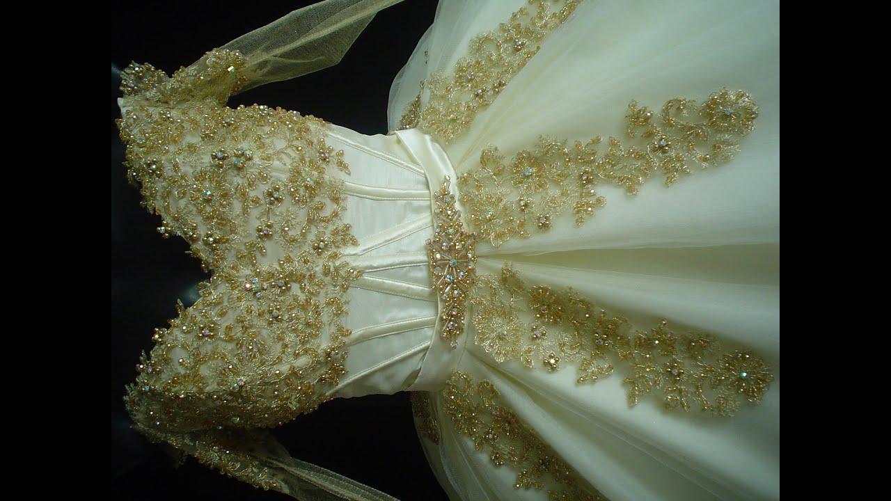 vestido de xv  años ibory con dorado