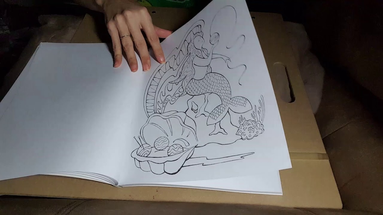 Silent flip through of I Dream of Yarn coloring book