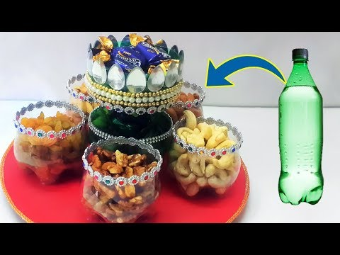 Easy Best Out of Waste : How to Reuse Plastic Bottle to make Dry Fruit Tray | Recycled Crafts